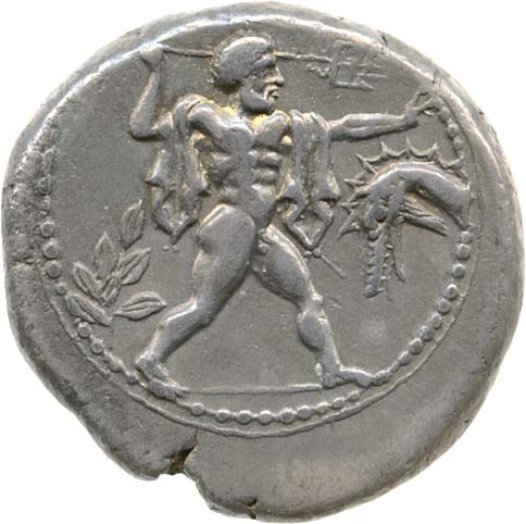 Coin from Poseidonia showing Poseidon and ketos on obverse, with bull on reverse | © ACANS SNG Gale 716o
