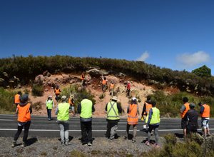 Students Looking at a Road Cut