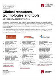 Clinical resources, technologies and tools