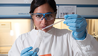 A student in the lab