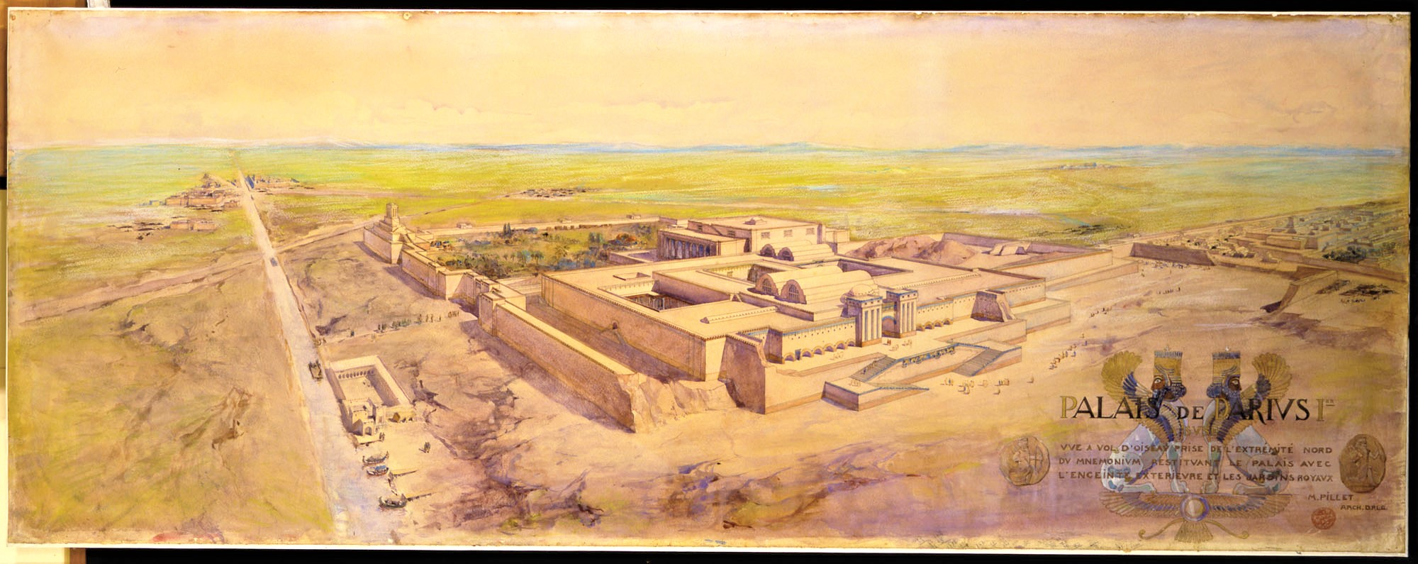 The Palace of Darius at Susa was a masterpiece of mudbrick architecture housing enormous reception halls opening to internal courtyards. Watercolour by Maurice Pillet (1913).
