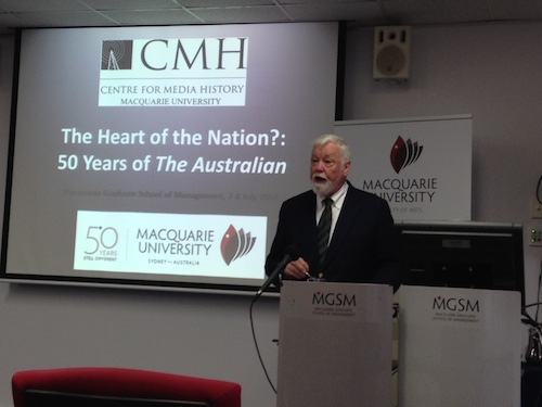 Mark Day delivers his keynote address on 'The Proprietorial Model' to the CMH's symposium on 50 years of The Australian.