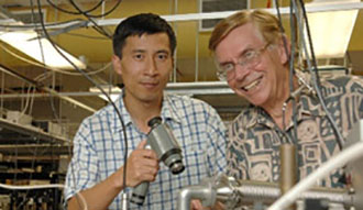 Yabai He and Brian Orr preparing to align an infared laser beam
