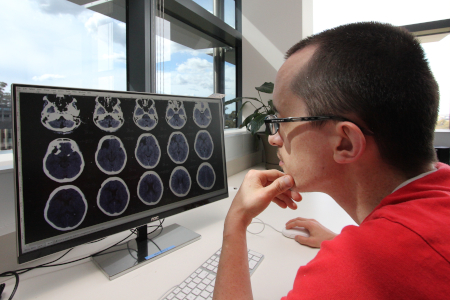 HDR Student looking at brain images