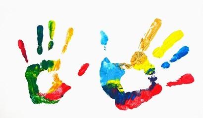a child's handprints