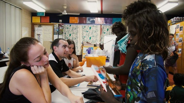 PACE students chat with students from Maningrida during their PACE activity with Books in Homes.