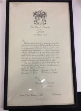 The Royal Society of London Fellow (framed certificate)