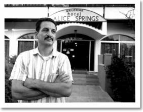 George Hatzimihail outside the Hotel Alice Springs