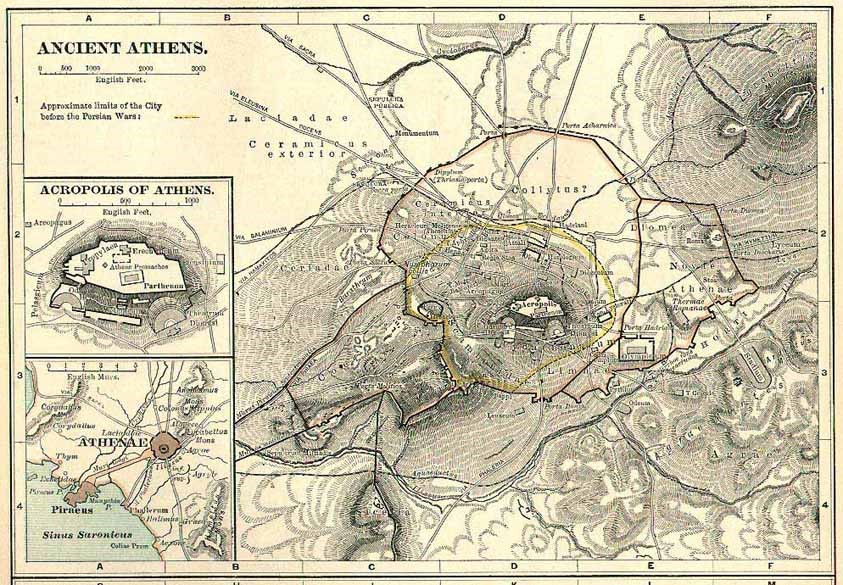Old fashioned map of Athens
