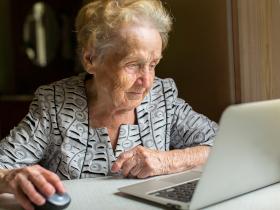 Elderly lady using computer