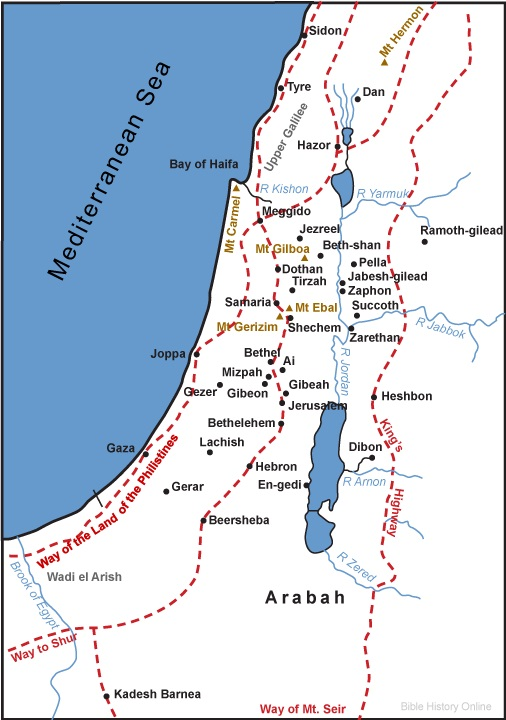 Map of Ancient Territory Palestine