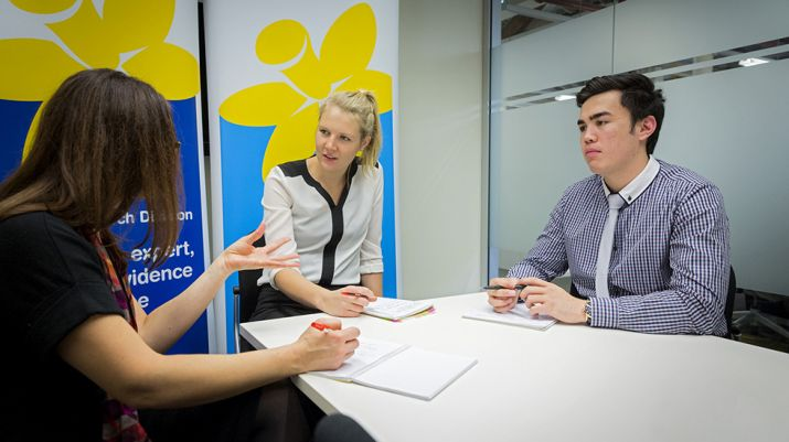 PACE students chat with their partner at the Cancer Council NSW