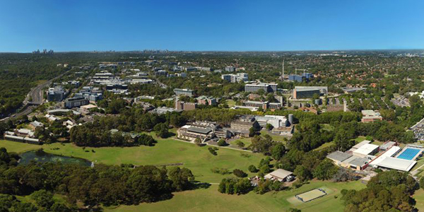 Aerial view of Macquarie University campus and grounds