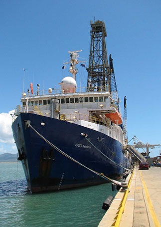 Bow view from dock of the Joides Resolution, Townsville