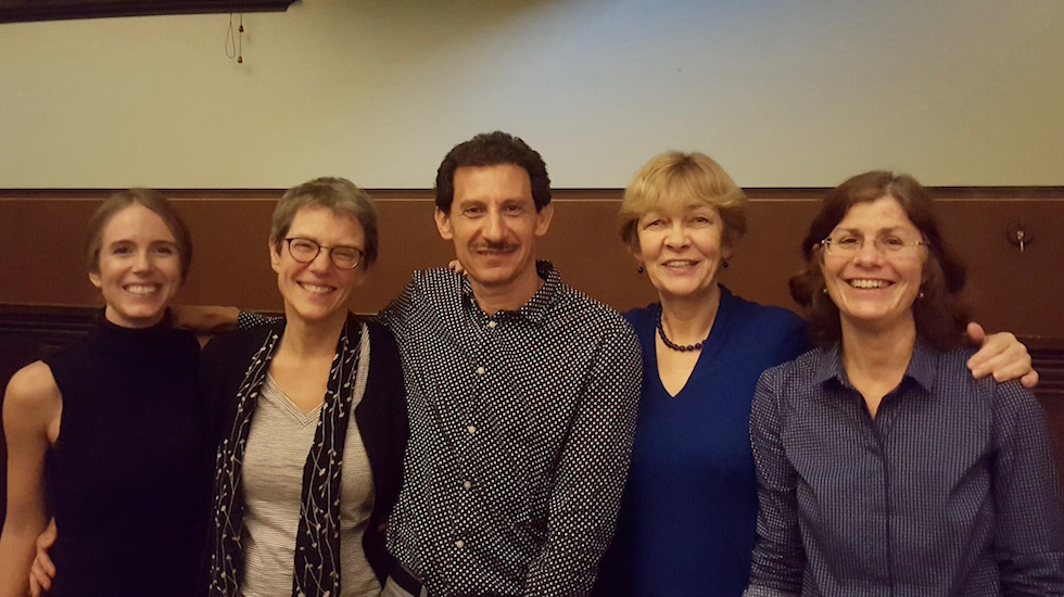 CAVE/Sydney Conference: Social Imaginaries: Dominance and Resistance (July 2016). L-R: Millicent Churcher (Sydney), Sally Haslanger (MIT), Jose Medina (Vanderbilt), Moira Gatens (Sydney), and Catriona Mackenzie (Macquarie). Photo by Millicent Churcher.