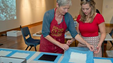 Handmade paper demonstration and workshop by artist Nathalie Hartog Gautier