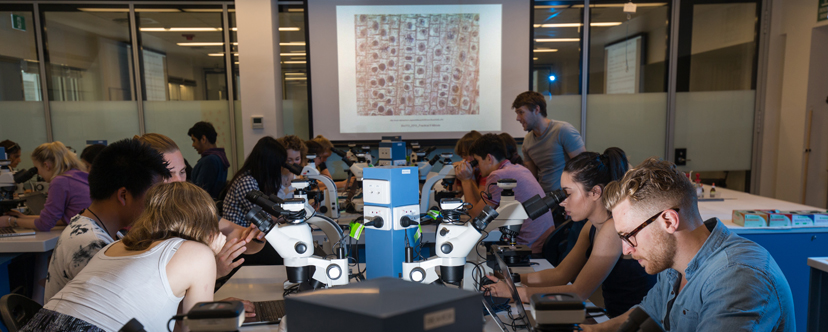 Teaching Lab with students looking through microscopes