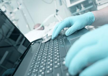 Nurse using a laptop