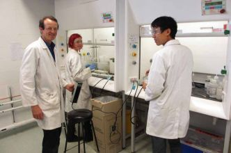 Wet chemistry area in Organic Geochemistry Lab: Simon, Emma, Yosuke