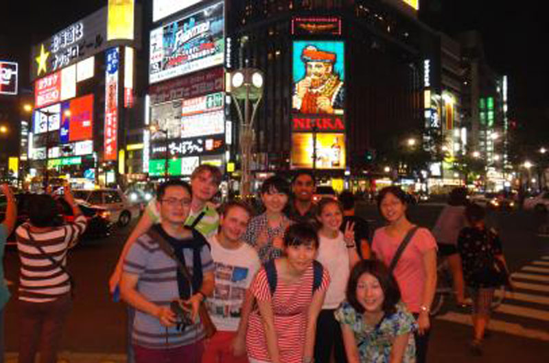 The group touring Japan