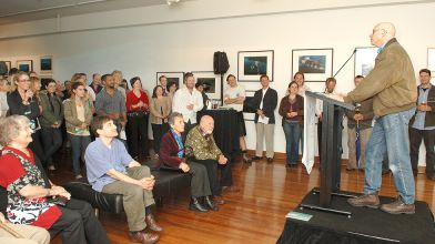 Opening night of research project exhibition Beyond the Breakers with guest speaker Dr Karl Kruszelnicki
