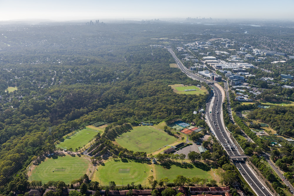 Macquarie University Sport Fields Aerial Shot