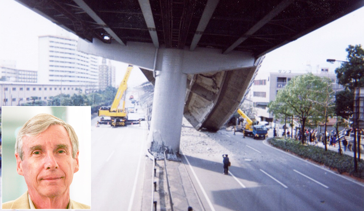 An elevated expressway which collapsed 17 January 2015 during the Kobe, Japan earthquake. Photo: Taken by Professor Paul Somerville [inset] who was in neighbouring Osaka at the time of the earthquake.
